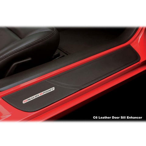 Corvette Door Sill Plates - Leather w/Embroidered Logo : 2005-2013 C6, Z06 or Grand Sport-Sill Plates & Protectors-Altec