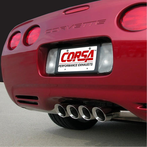 "Corvette Exhaust System - Corsa Indy Pace Car - Tiger Shark Quad 3.5"" Tips : 1997-2004 C5 & Z06-Exhaust System-Corsa Exhaust"