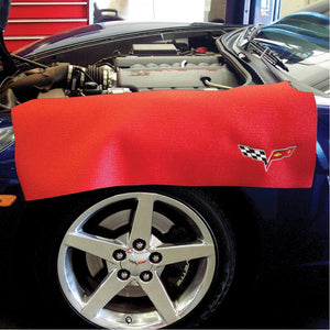 "Corvette Fender Mat with C6 Logo - 36"" X 24"" : Black or Red-Garage-SR1 Performance"