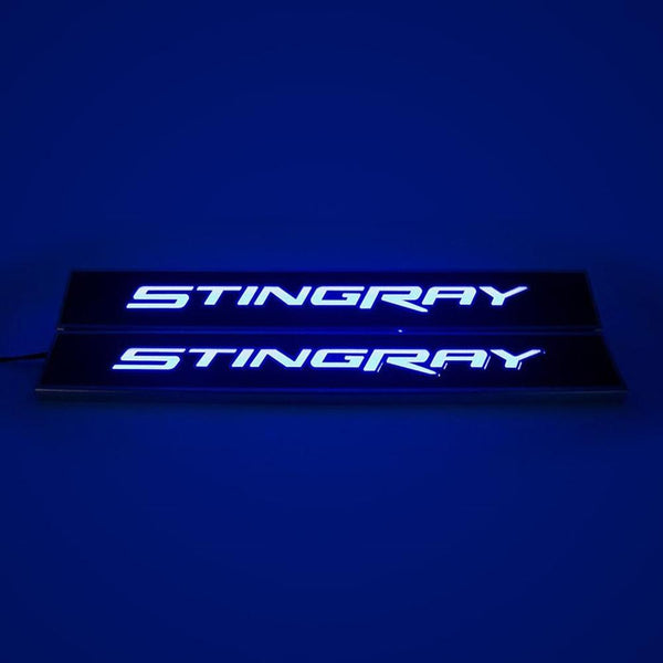 Corvette Illuminated Door Sill Replacements - Carbon Fiber : C7 Stingray, Z51-Sill Plates & Protectors-American Car Craft