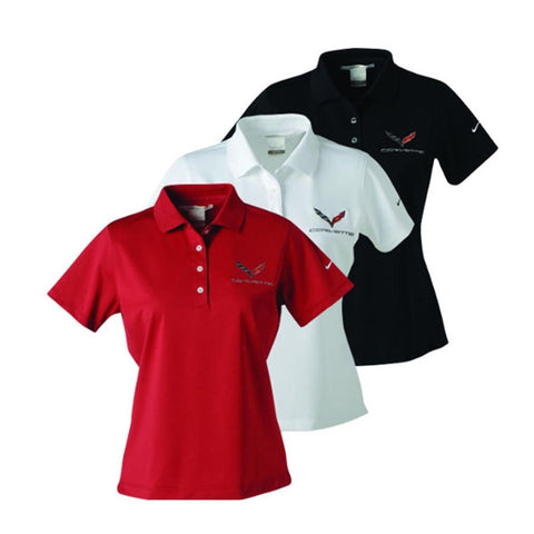Corvette Ladies Nike Dri Fit Performance Polo : C7 Stingray-Polo Shirts-Ralph White Merchandising