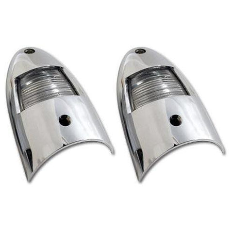 Corvette License Lights. W/Fasteners.: 1956-1957-License Plate Lights-West Coast Corvettes