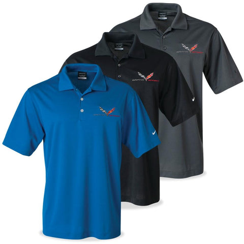 Corvette - Men's Nike Dri-Fit Polo : C7 Grand Sport-Polo Shirts-Ralph White Merchandising