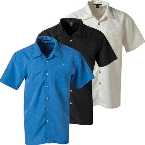 Corvette - Men's Tonal Harriton Barbados Textured Camp Shirt : C7 Stingray-Polo Shirts-Ralph White Merchandising