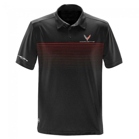Corvette Next Generation Car Gesture Striped Polo : Black-Polo Shirts-Burston Marketing