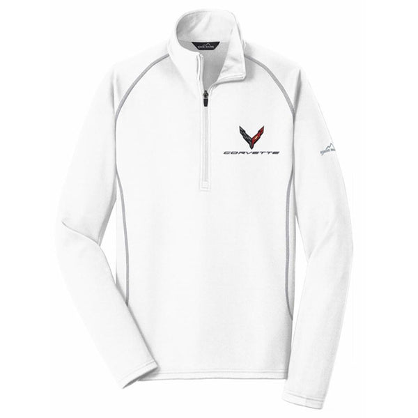 Corvette Next Generation Eddie Bauer Half Zip Fleece Jacket : White-Jackets-Ralph White Merchandising