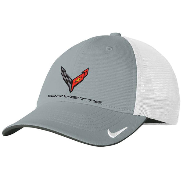Corvette Next Generation Nike Mesh Hat - Gray/White-Hats-Ralph White Merchandising