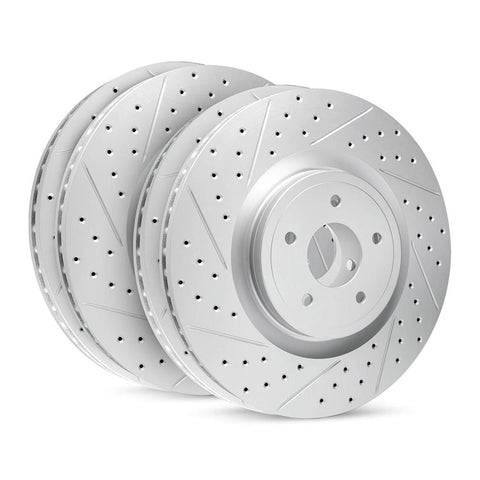 Corvette R1 High Carbon Alloy Geomet Series Drilled & Slotted Rotors Set : 1997-2013 C5, C6-Rotors & Covers-R1 Concepts Inc.
