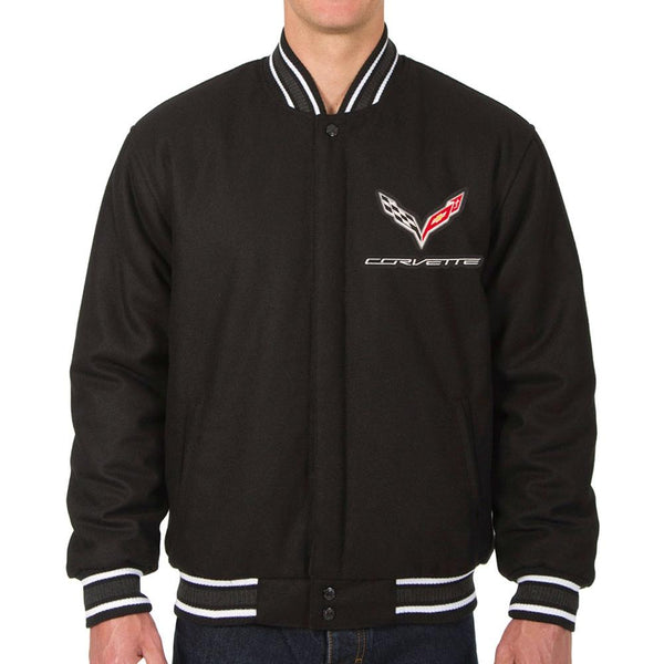 Corvette Reversible Wool Varsity Style Jacket - Black : C7 Stingray, Z51-Jackets-JH Design Group