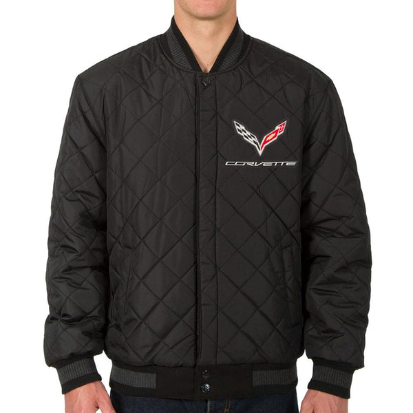 Corvette Reversible Wool Varsity Style Jacket w/Leather Sleeve - Charcoal : C7 Stingray, Z51-Jackets-JH Design Group