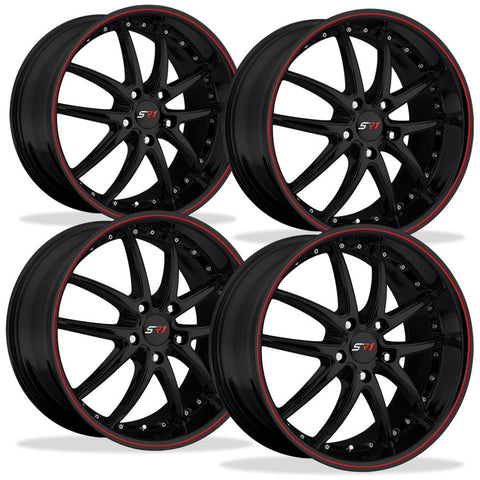Corvette SR1 Performance Wheels - APEX Series (Set) : Gloss Black w/Red Stripe-Custom Wheels-SR1 Performance