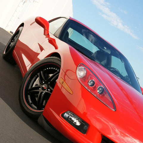 Corvette SR1 Performance Wheels - BULLET Series (Set) : Gloss Black w/Red Stripe-Custom Wheels-SR1 Performance