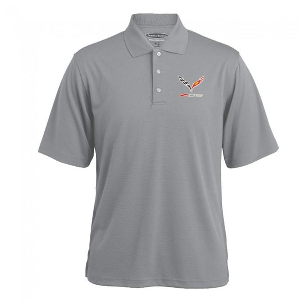 Corvette Texture Polo - Gray Heather : C7 Z06-Polo Shirts-Burston Marketing