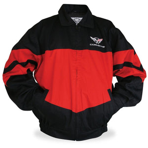 Corvette Twill Jacket w/ C5 Emblem - Red/Black : 1997-2004 C5-Jackets-Norscott
