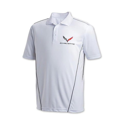 Corvette w/Crossed Flags Sport Polo - White : C7-Polo Shirts-Burston Marketing