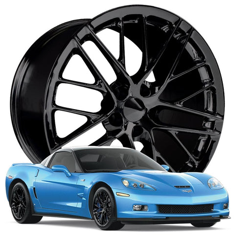 Corvette Wheel - 2009 ZR1 Style Reproduction : Gloss Black-Reproduction Wheels-Factory Reproductions