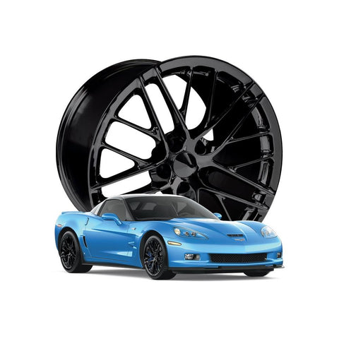 Corvette Wheel - 2009 ZR1 Style Reproduction (Set): Gloss Black-Reproduction Wheels-Factory Reproductions