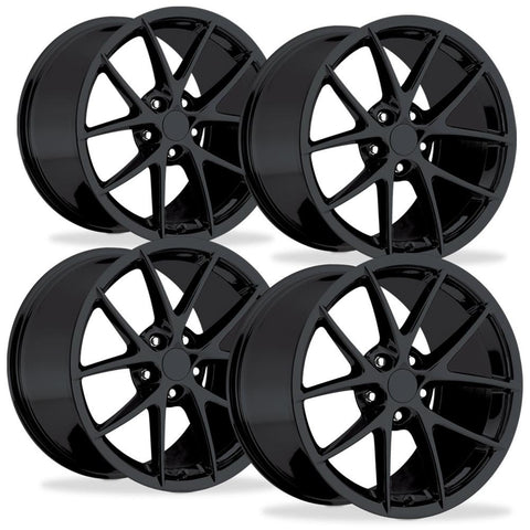 Corvette Wheels - 2009 C6Z06 Spyder Style Reproductions (Set) : Gloss Black-Reproduction Wheels-Factory Reproductions