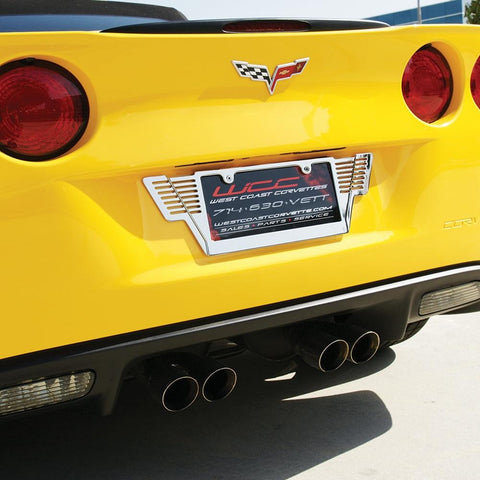 Corvette Winged License Plate Frame - Billet Chrome : C6, Z06, ZR1, Grand Sport & C7 Stingray-License Plate Frames-SR1 Performance