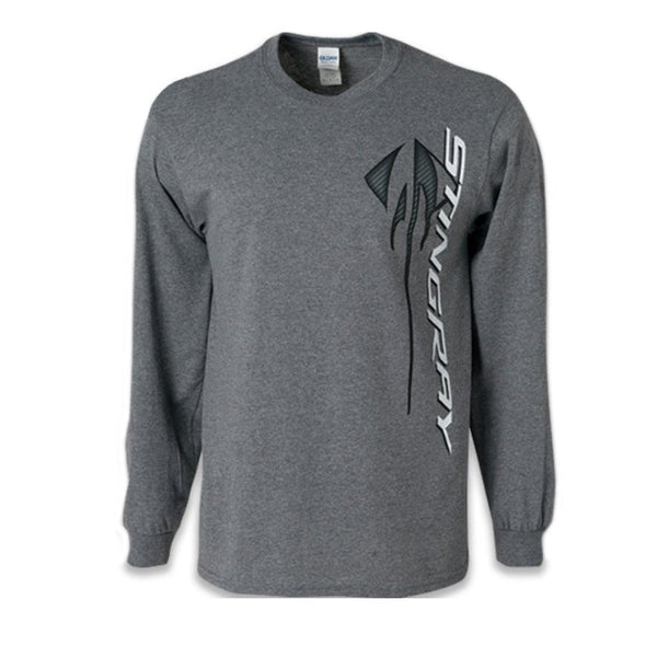 C7 Corvette Stingray Logo Long Sleeve T-Shirt - Gray