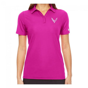 Next Generation Corvette Ladies Under Armour Polo : Pink-Polo Shirts-Burston Marketing