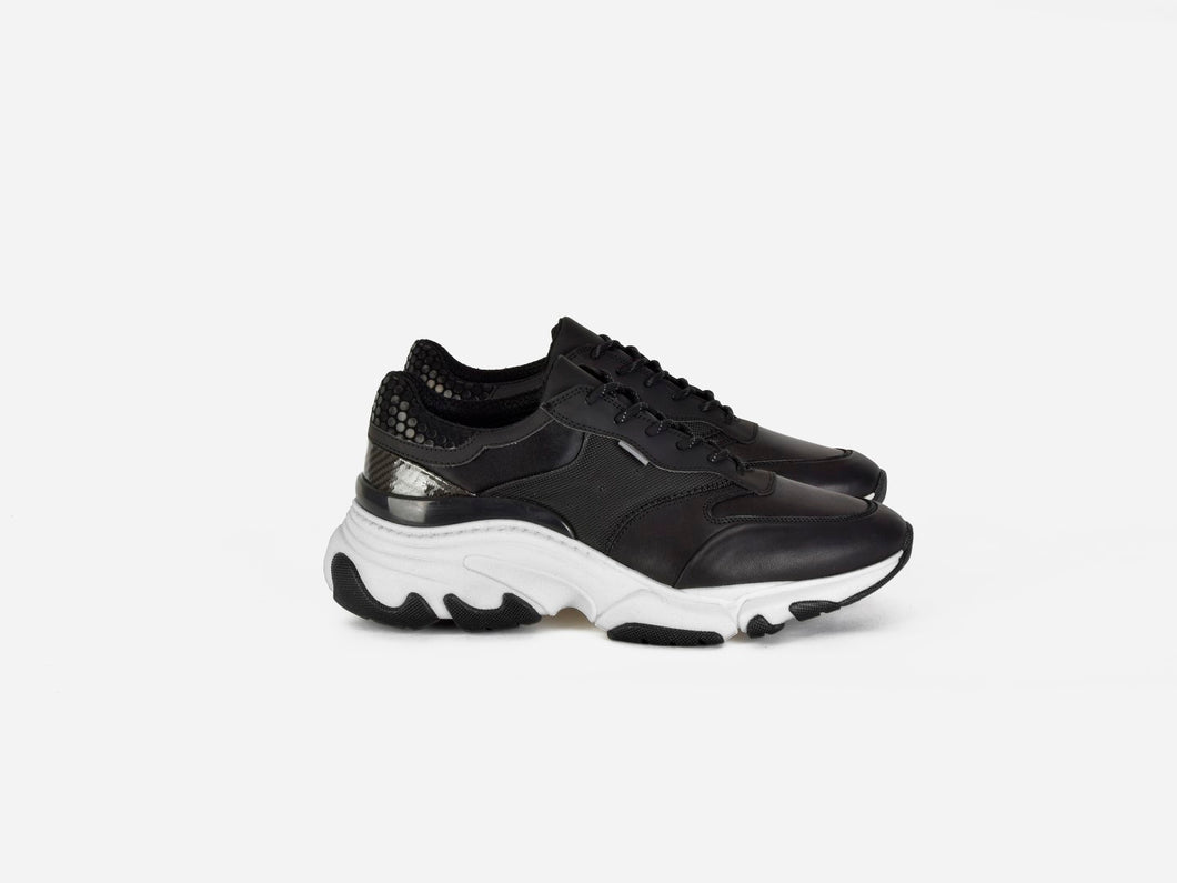 pregis kayo black leather oversized runner sneaker made in portugal