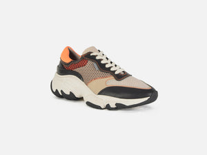 pregis kayo orange leather mesh multi oversized runner sneaker designed in London