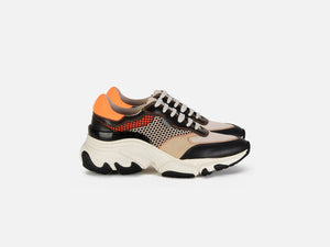 pregis kayo orange leather mesh multi oversized runner sneaker made in portugal