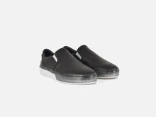 pregis lang black leather cupsole sneakers designed in London