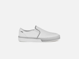 pregis lang white leather cupsole sneakers designed in London