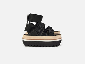 pregis matter black leather flatform designed in London