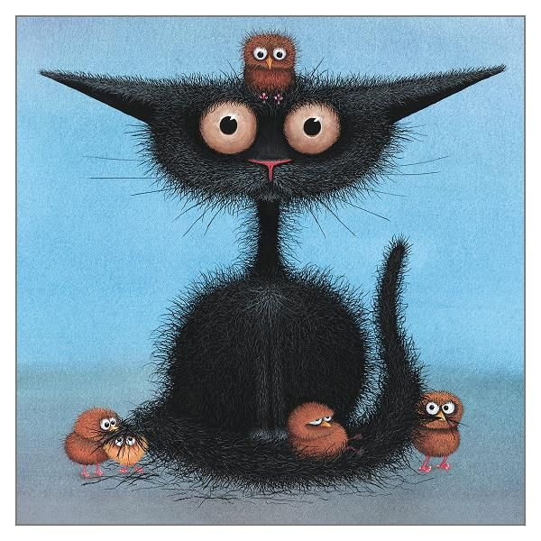 Humorous Black Cat blank greetings card by Tamsin Lord