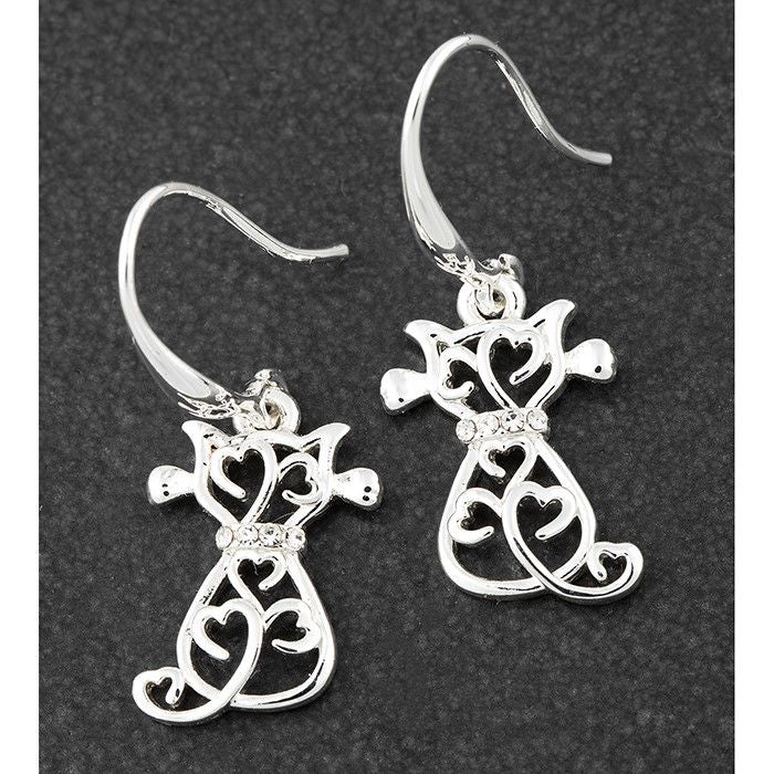 Filigree Cat Silver Plated Drop Earrings