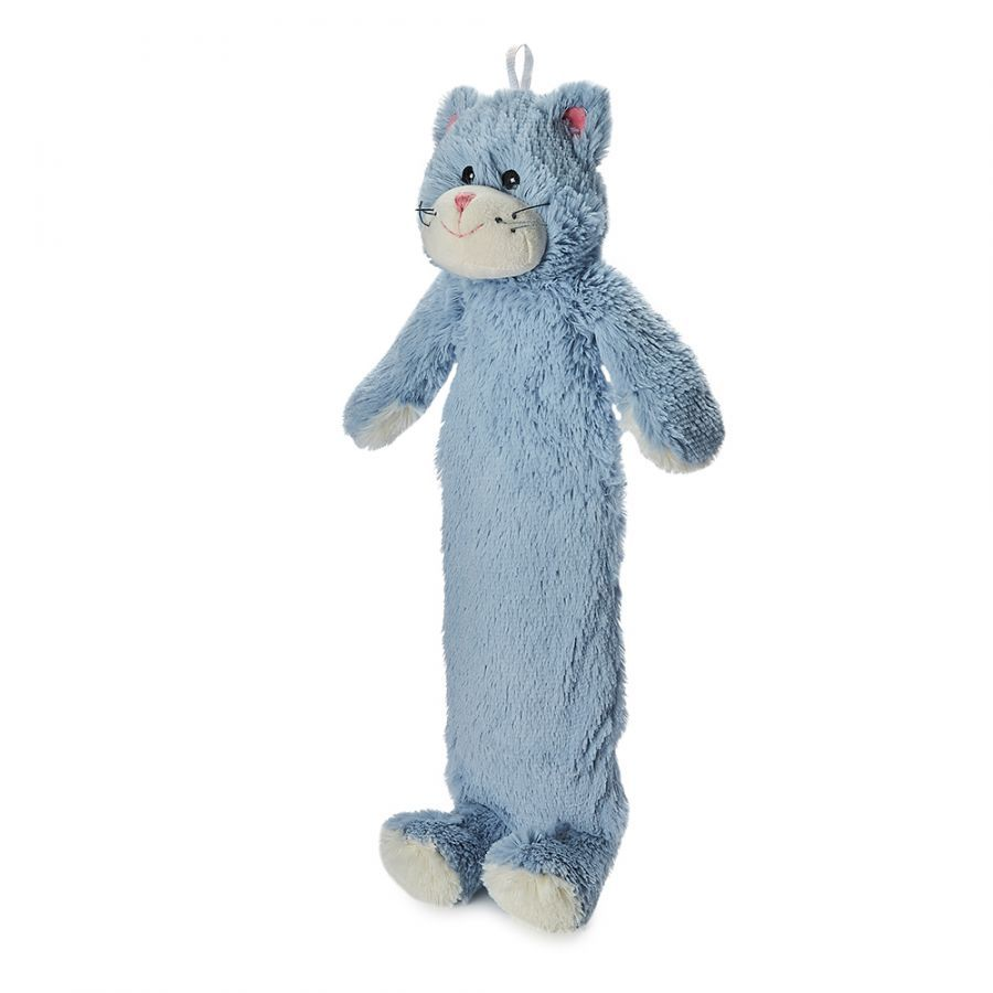 Long Hot water bottle - blue kitten design