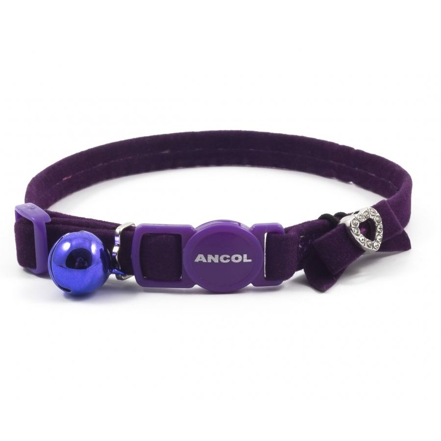 Ancol Purple Velvet Safety Cat Collar with Heart Motif