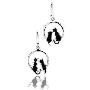 Pair of Cats Silver & Enamel Earrings