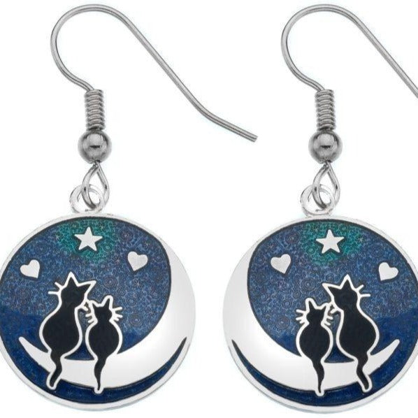 Love Cats Enamel Earrings