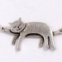 Sleeping Cat Pewter Necklace