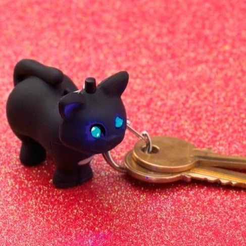 LED Cat Keyring with Miaow