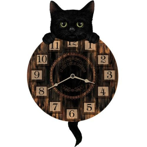Black Kitten Pendulum Clock