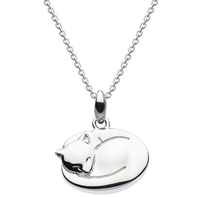 Sterling Silver Sleeping Cat Necklace