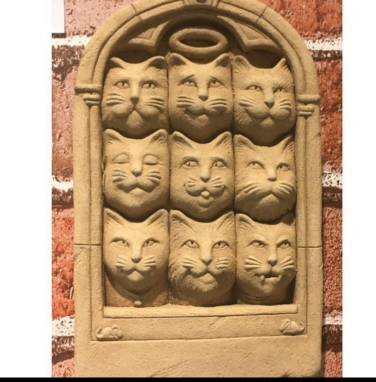 Nine Lives Stone Plaque featuring 9 cat heads