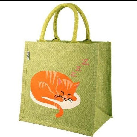 Jute Shopping Bag, Cat Sleeping