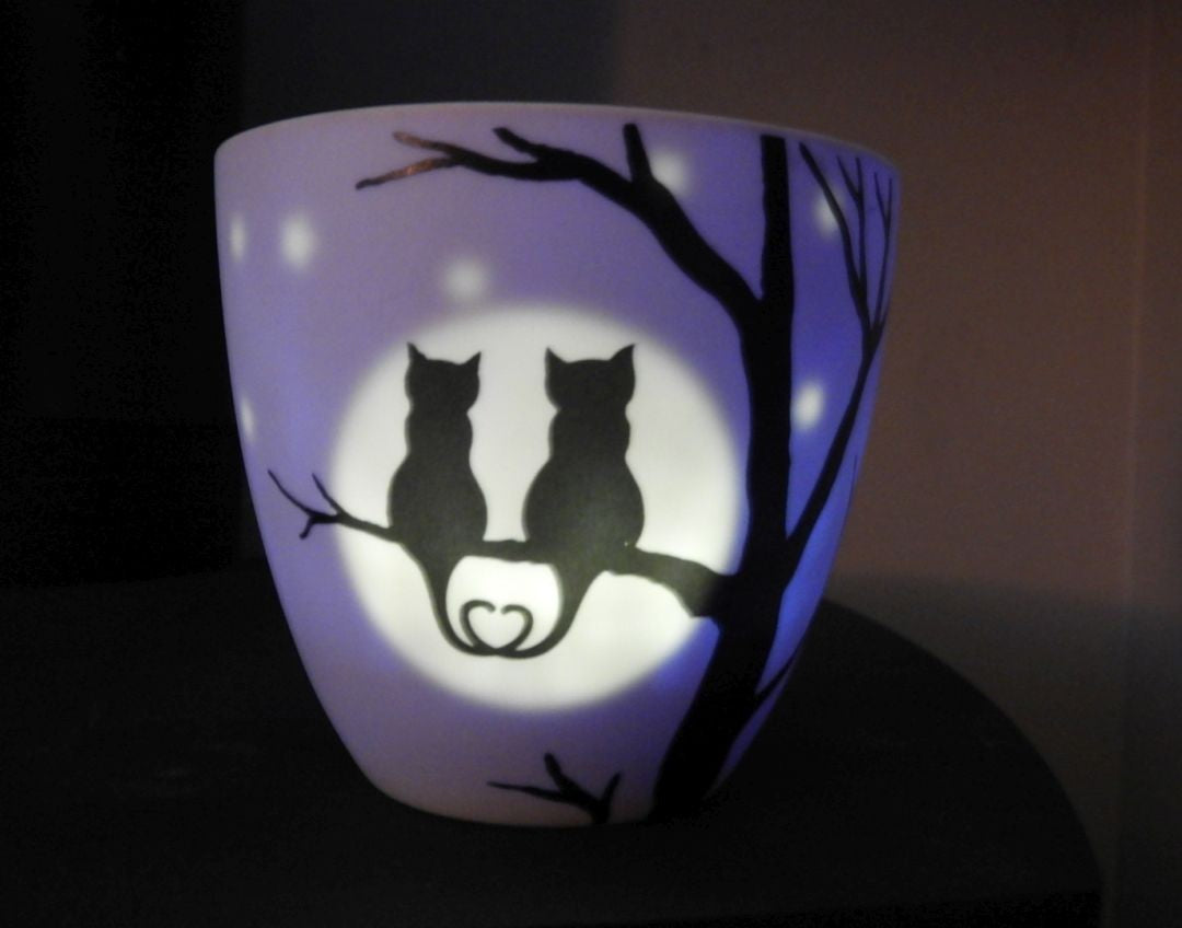 Moonlight Cats tealight