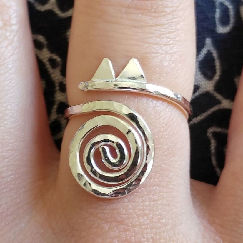 Spiral Silver Cat Ring