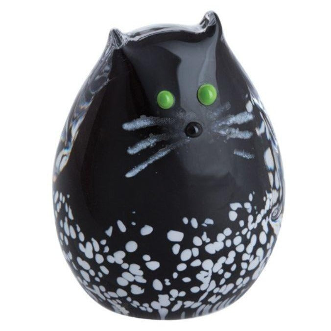 Caithness Glass Black & White Kitten Paperweight