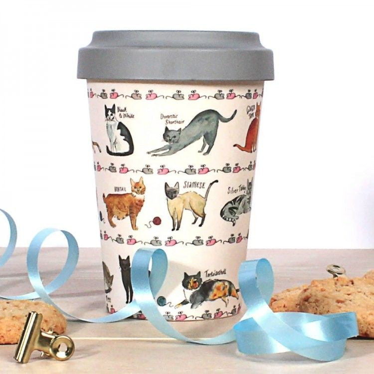 Curious Cats Bamboo Travel Mug