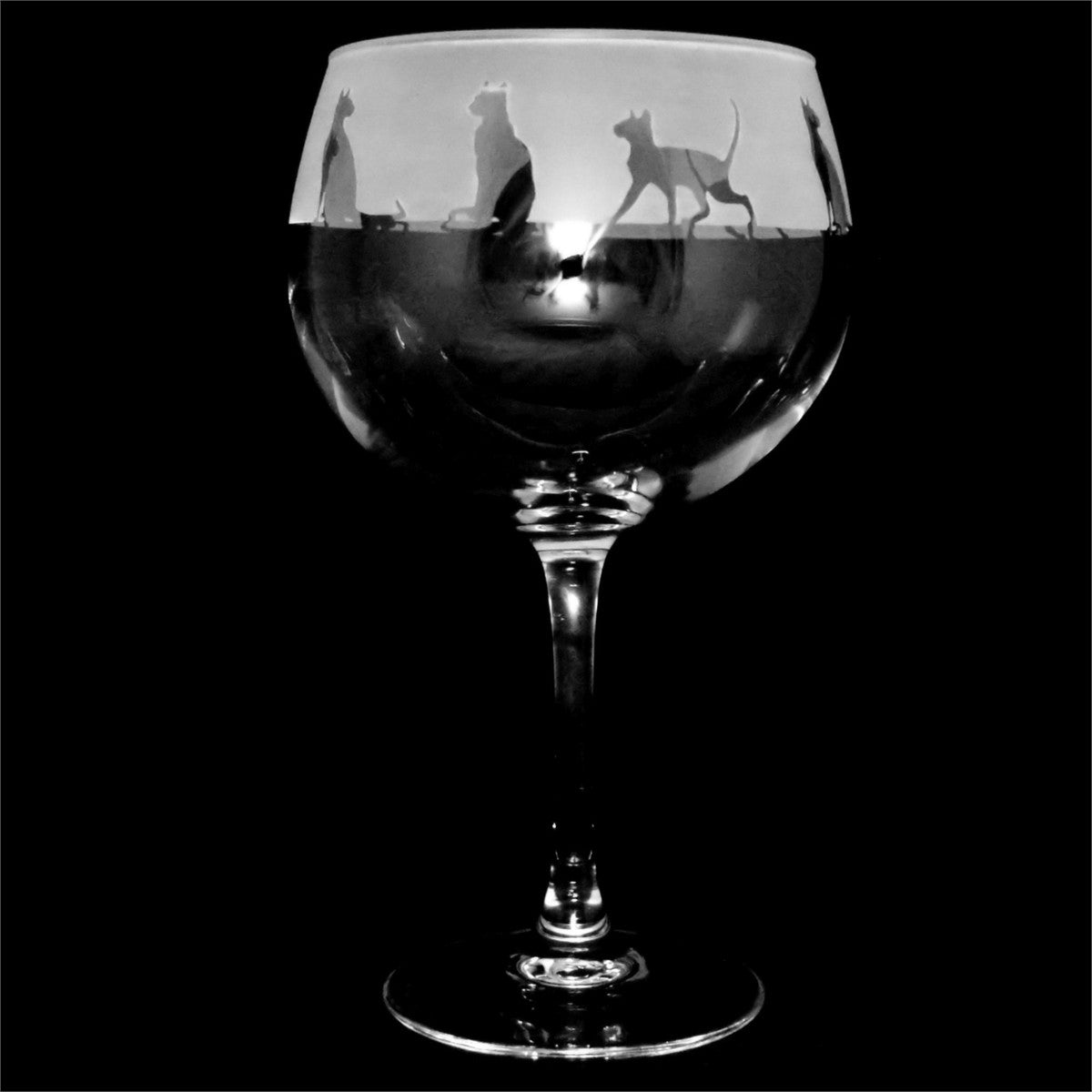Etched Cat Gin Glass