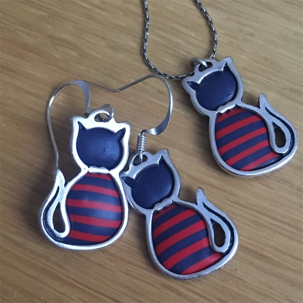 French Navy and Red Breton Cat Jewellery Set