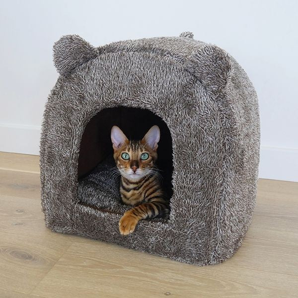 Brown Teddy Bear Cat Bed